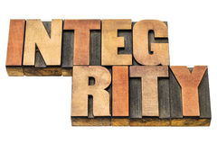 Integrity word abstract in wood type royalty free stock photos