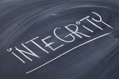 Integrity word on blackboard Stock Image