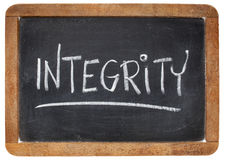 Integrity word on blackboard Stock Photo
