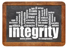 Integrity word cloud on blackboard Royalty Free Stock Photo