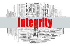 Integrity word cloud. Concept on white background, 3d rendering Royalty Free Stock Photos