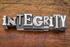 Integrity word in metal type stock photo