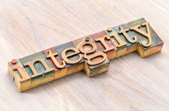 Integrity word typography in wood type stock photo