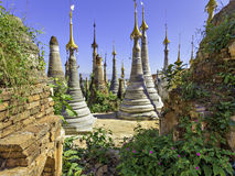 Intein stupa forest. Crowd of Buddhist stupas seen through gap in ruined overgrown brick wall royalty free stock photo