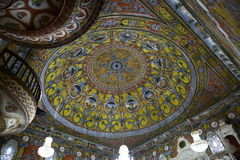 Inteior della moschea decorata in Tetova, Macedonia Fotografia Stock Libera da Diritti