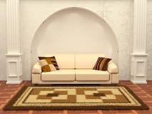 Inteiror. Sofa between the columns in white room Stock Photos