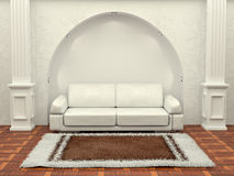 Inteiror. Sofa between the columns in white room Stock Photography