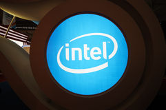 Intel  booth logo Royalty Free Stock Photos