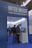 Intel company booth at CEE 2015, the largest electronics trade show in Ukraine Stock Photos