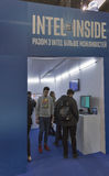 Intel company booth at CEE 2015, the largest electronics trade show in Ukraine Royalty Free Stock Photo
