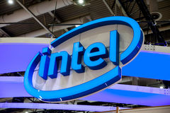 Intel company logo on exhibition fair Cebit 2017 in Hannover Messe, Germany. Hannover, Germany - March, 2017: Intel company logo on exhibition fair Cebit 2017 in Royalty Free Stock Photography