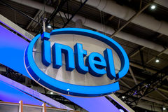 Intel company logo on exhibition fair Cebit 2017 in Hannover Messe, Germany. Hannover, Germany - March, 2017: Intel company logo on exhibition fair Cebit 2017 in Royalty Free Stock Photo