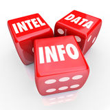 Intel Data Info 3 Red Dice Words Find Information Stock Photo
