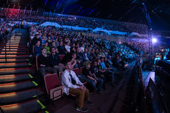 Intel Extreme Masters 2014, Katowice, Poland. Audience at IEM 2014, 14th - 16th March in Katowice, Poland, fisheye view Royalty Free Stock Images