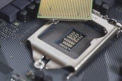 Intel LGA CPU-hålighet 1151 på moderkortdatorPC med CPU-pr Arkivbilder