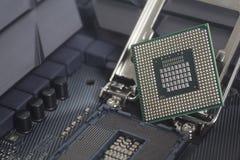 Intel LGA CPU-hålighet 1151 på moderkortdatorPC med CPU-processorn Royaltyfri Fotografi