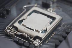 Intel LGA CPU-hålighet 1151 på moderkortdatorPC med CPU-processorn Arkivfoto