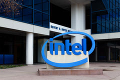 Intel Sign at Corporate Headquarters. Royalty Free Stock Photos