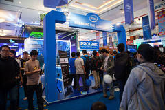 Intel Stand in Indo Game Show 2013. Jakarta, Indonesia, 8th September 2013: Visitors crowding Intel stand in Indo Game Show 2013 expo at Jakarta Convention Stock Photos