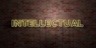 INTELEKTUALISTA - fluorescencyjny Neonowej tubki znak na brickwork - Frontowy widok - 3D odpłacający się królewskość bezpłatny ak ilustracji