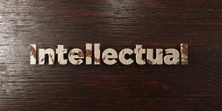 Intelektualista - grungy drewniany nagłówek na klonie - 3D odpłacający się królewskość bezpłatny akcyjny wizerunek ilustracja wektor