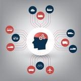 Inteligência artificial abstrata, tráfego esperto que controlam, transporte público e conceito de projeto das redes de Digitas ilustração do vetor