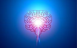 Inteligência artificial, cérebro, placa de circuito, condutores, almofadas, e sinais neurais em um fundo azul Foto de Stock Royalty Free
