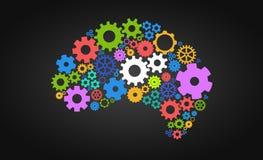 Inteligência artificial com forma e engrenagens do cérebro humano Imagem de Stock