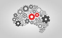 Inteligência artificial com forma e engrenagens do cérebro humano Imagens de Stock