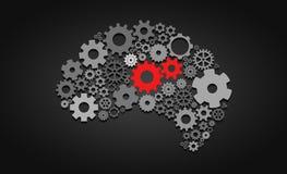 Inteligência artificial com forma e engrenagens do cérebro humano Imagem de Stock Royalty Free
