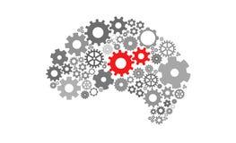 Inteligência artificial com forma e engrenagens do cérebro humano Imagens de Stock Royalty Free