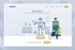 Inteligência artificial Criação, gestão, teste do robô, tecnologia do futuro ilustração do vetor