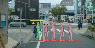 Inteligência artificial esperta no carro autônomo com o auto que conduz o conceito da tecnologia, o movimento de predição i do pe imagem de stock