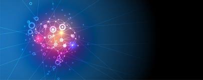 Inteligência artificial Fundo da Web da tecnologia Concentrado virtual ilustração royalty free