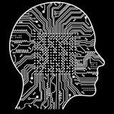 Inteligência artificial A imagem de esboços da cabeça humana, dentro de que há uma placa de circuito abstrata Imagem de Stock Royalty Free