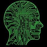 Inteligência artificial A imagem de esboços da cabeça humana, dentro de que há uma placa de circuito abstrata Imagens de Stock Royalty Free