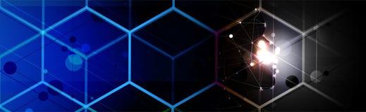 Inteligência artificial no formulário do cubo Fundo da Web da tecnologia Concentrado virtual ilustração stock