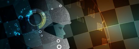 A inteligência artificial pode conduzir Tecnologia w do carro de competência do esporte ilustração do vetor