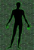 Inteligência artificial Silhueta de um corpo do homem, dentro de que código binário Pode ilustrar ideias científicas Fotografia de Stock Royalty Free