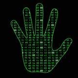 Inteligência artificial Silhueta de uma palma da mão do homem, dentro de que código binário Pode ilustrar ideias científicas Fotografia de Stock