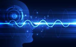 Inteligência artificial Tecnologia digital do AI no futuro Conceito virtual Fundo da ilustração do vetor ilustração stock