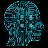 Inteligência de Rtificial A imagem de esboços da cabeça humana, dentro de que há uma placa de circuito abstrata Fotografia de Stock