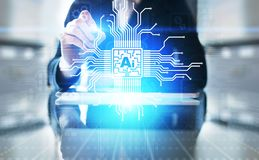 Intelig?ncia artificial do AI, aprendizagem de m?quina, an?lise de dados grande e tecnologia da automatiza??o no neg?cio foto de stock royalty free
