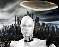 Inteligencia androide, cibernética Fotos de archivo