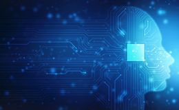 Inteligencia artificial abstracta Brain Concept creativo, concepto de pensamiento, concepto virtual, fondo abstracto futurista fotografía de archivo