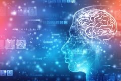 Inteligencia artificial abstracta Brain Concept creativo, fondo del web de la tecnología fotografía de archivo