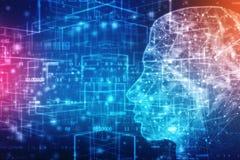 Inteligencia artificial abstracta Brain Concept creativo, fondo del web de la tecnología stock de ilustración