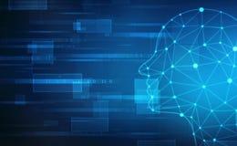 Inteligencia artificial abstracta Fondo abstracto de la web de la tecnología Esquema de la cabeza humana con códigos binarios fotografía de archivo