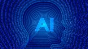 Inteligencia artificial, AI, contornos principales humanos stock de ilustración