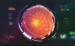 Inteligencia artificial Creación de un cerebro del ordenador Redes neuronales de Digitaces ilustración del vector
